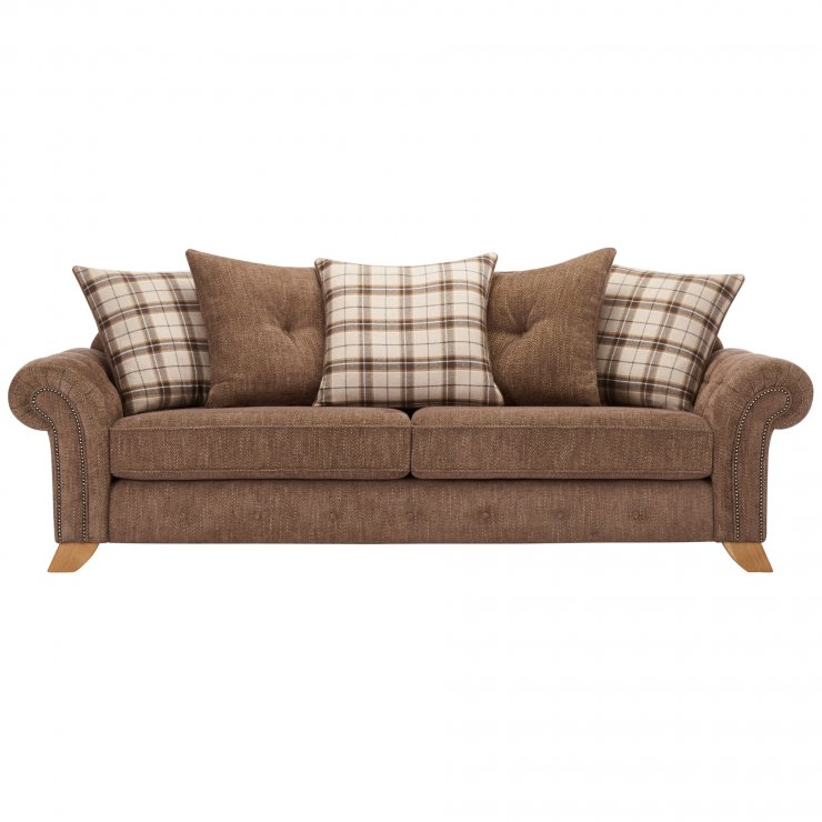 Montana 4 Seater Pillow Back Sofa in Brown with Tartan Scatters - Image 1