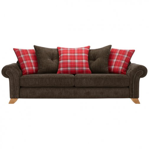 Montana 4 Seater Pillow Back Sofa in Charcoal with Tartan Scatters