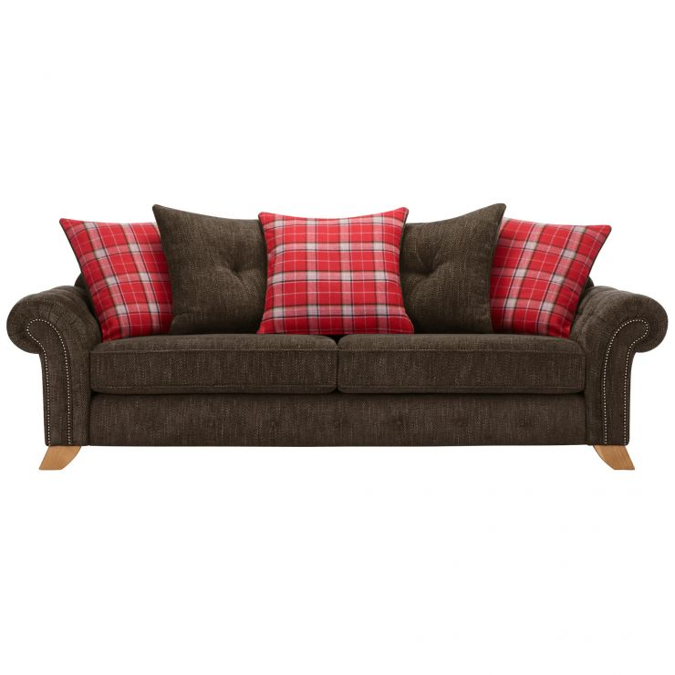 Montana 4 Seater Pillow Back Sofa in Charcoal with Tartan Scatters - Image 1
