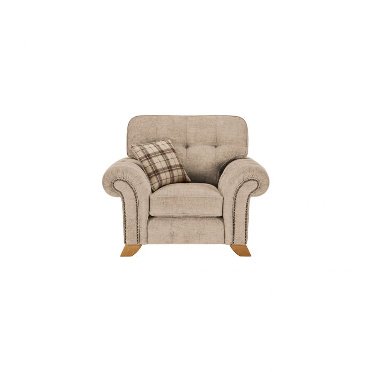 Montana Armchair in Beige with Tartan Scatter - Image 1