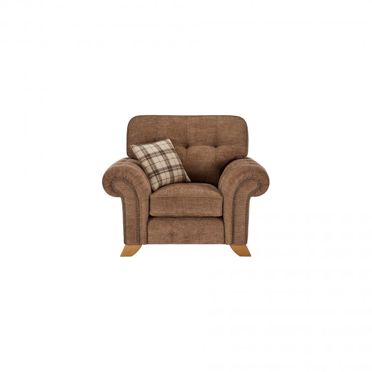 Montana Armchair in Brown with Tartan Scatter - Image 1