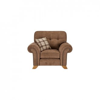 Montana Armchair in Brown with Tartan Scatter
