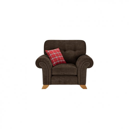 Montana Armchair in Charcoal with Tartan Scatter
