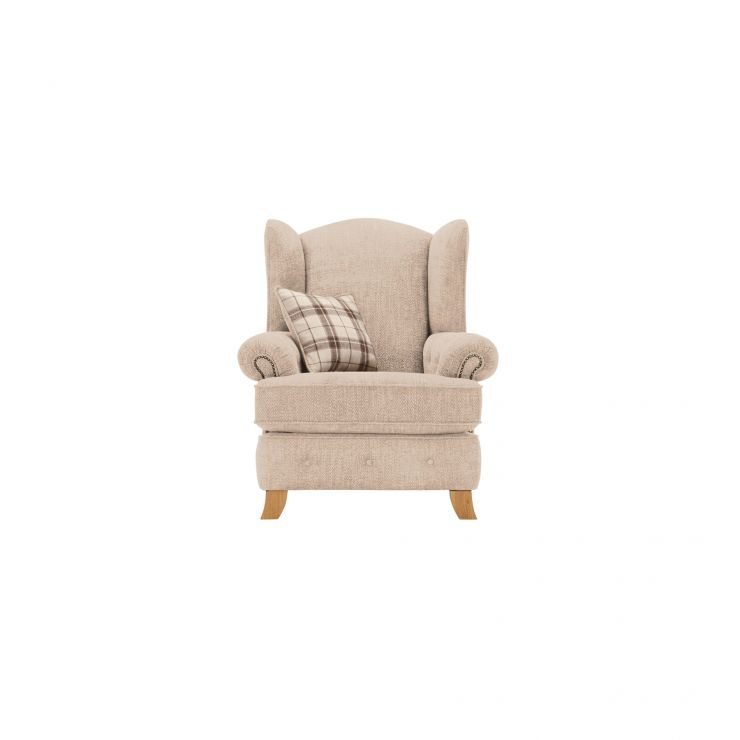 Montana Wing Chair in Beige with Tartan Scatter - Image 1