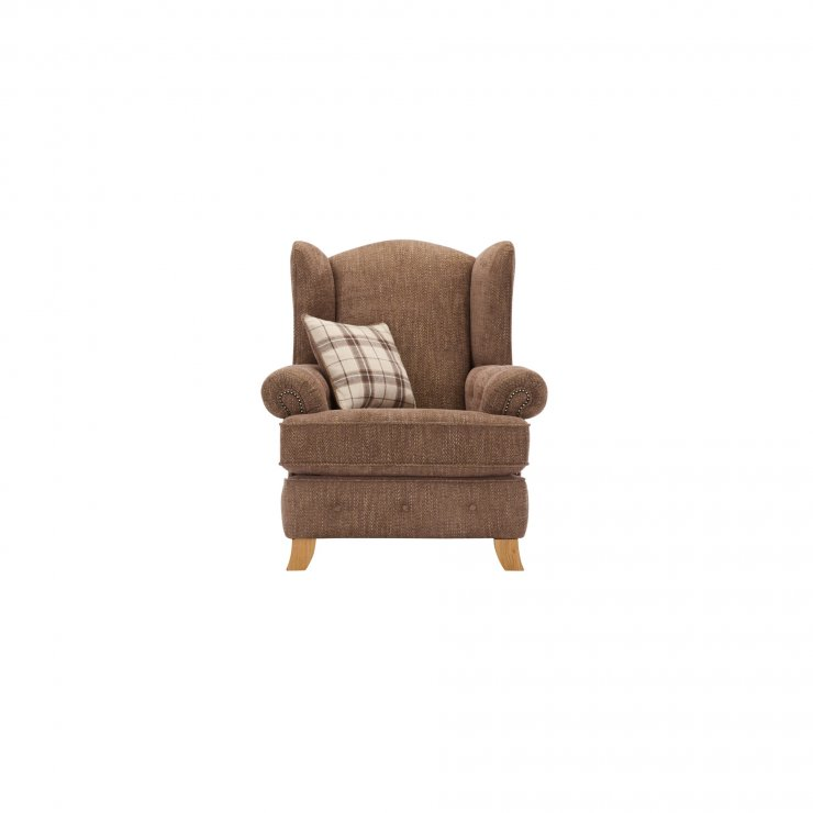 Montana Wing Chair in Brown with Tartan Scatter - Image 1