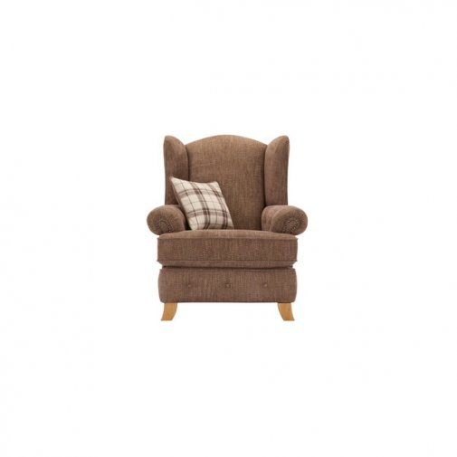 Montana Wing Chair in Brown with Tartan Scatter