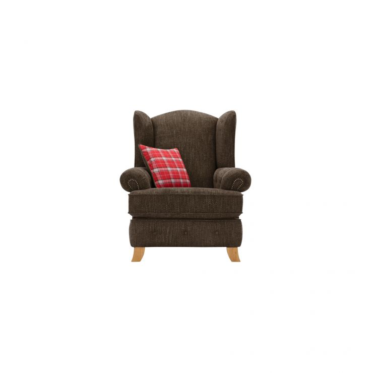 Montana Wing Chair in Charcoal with Tartan Scatter - Image 1