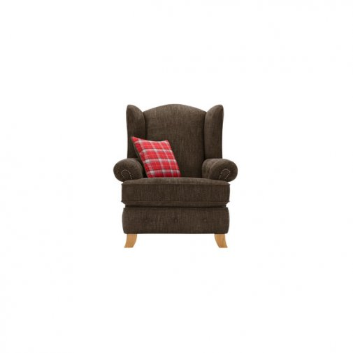 Montana Wing Chair in Charcoal with Tartan Scatter