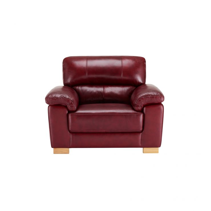 Monza Armchair - Burgundy Leather - Image 2