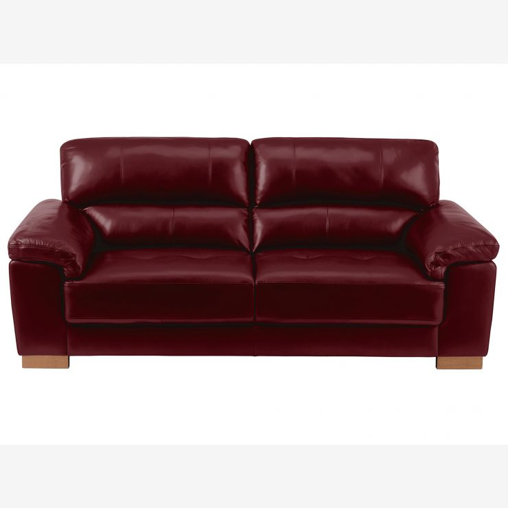 Monza 3 Seater Sofa - Burgundy Leather - Image 2
