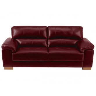 Monza 3 Seater Sofa - Burgundy Leather