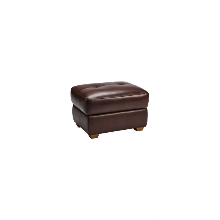 Monza Storage Footstool in 2 Tone Brown Leather