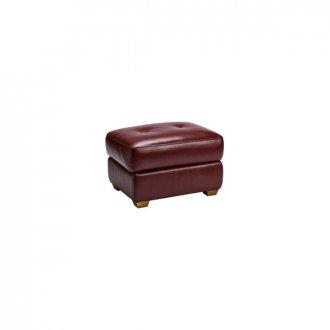 Monza Storage Footstool in Burgundy Leather