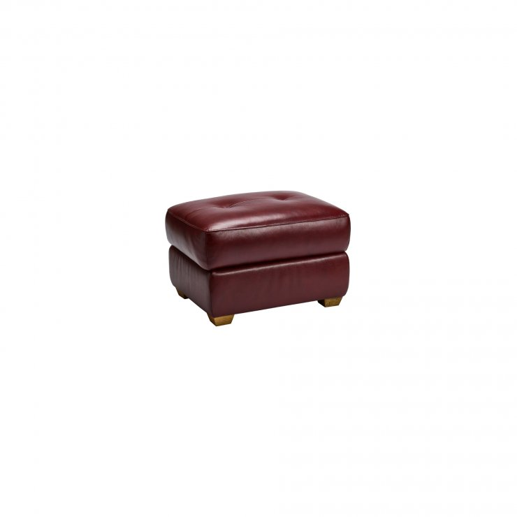 Monza Storage Footstool in Burgundy Leather - Image 3