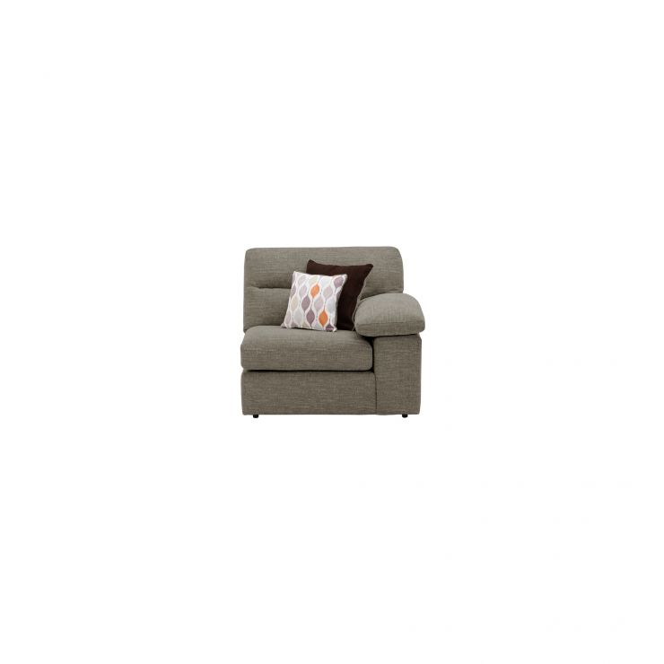Morgan Right Arm Module in Santos Taupe with 2 Orange and Beige Scatters