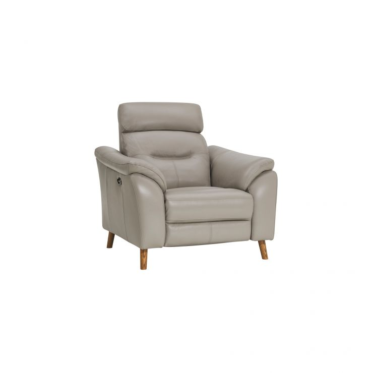 Muse Light Grey Leather Electric Recliner Armchair
