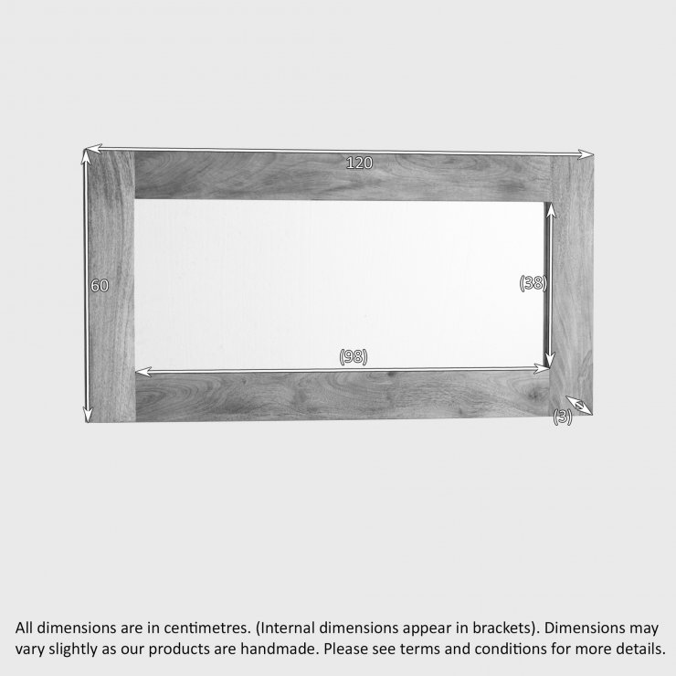 Natural Solid Light Mango 1200mm x 600mm Wall Mirror