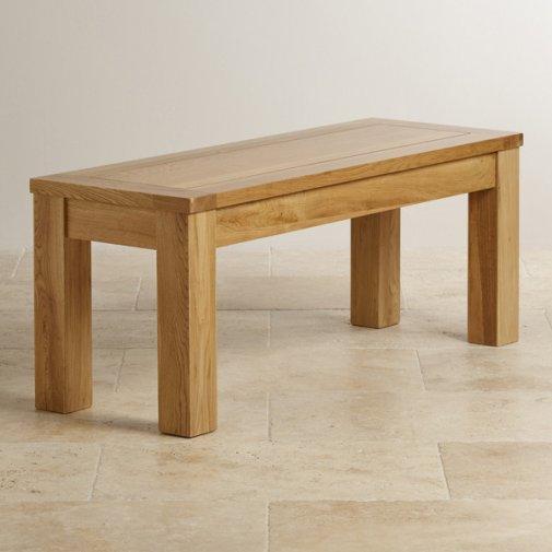 """Natural Solid Oak 3ft 7"""" Bench"""