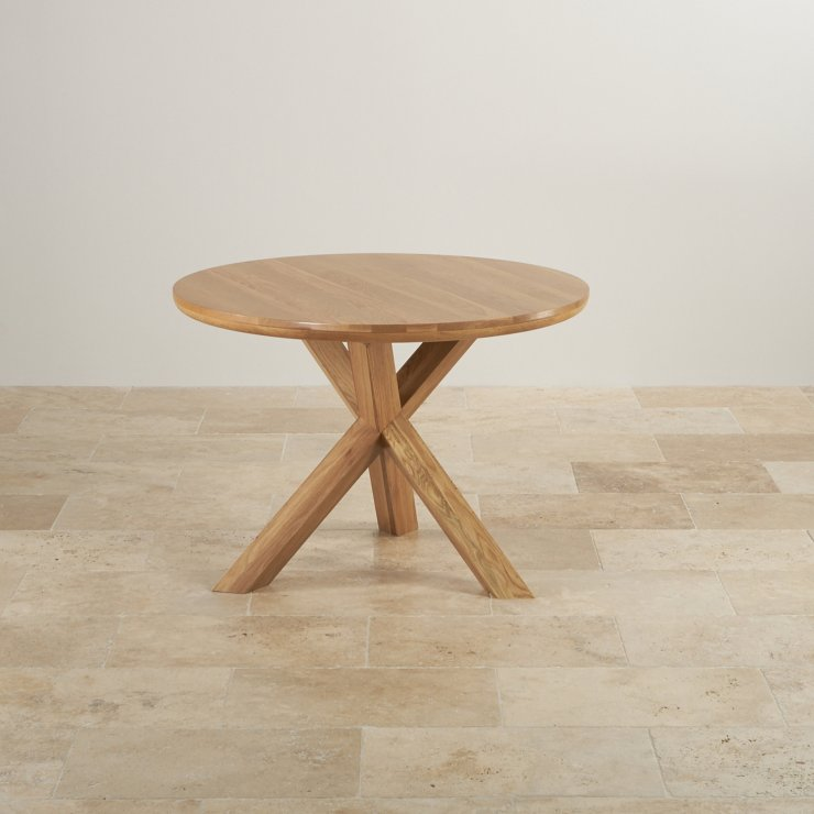 """Natural Solid Oak Dining Set - 3ft 7"""" Round Table with 4 Braced Scroll Back Cream Leather Chairs"""