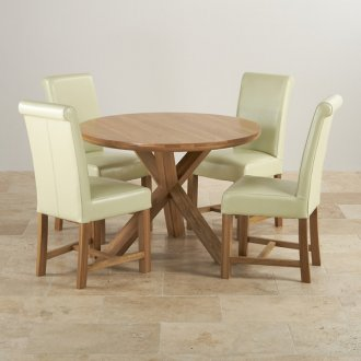 "Natural Solid Oak Dining Set - 3ft 7"" Round Table with 4 Braced Scroll Back Cream Leather Chairs"