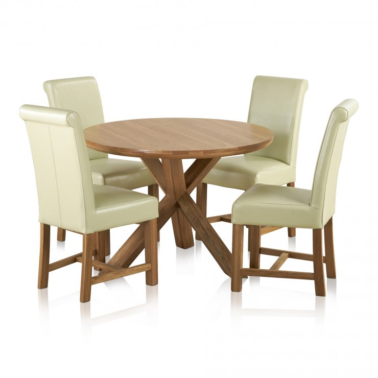 """Trinity Natural Solid Oak Dining Set - 3ft 7"""" Round Table with 4 Braced Scroll Back Cream Leather Chairs - Image 6"""