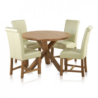 """Trinity Natural Solid Oak Dining Set - 3ft 7"""" Round Table with 4 Braced Scroll Back Cream Leather Chairs"""