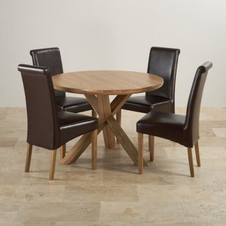 """Natural Solid Oak Dining Set - 3ft 7"""" Round Table with 4 Scroll Back Brown Leather Chairs"""