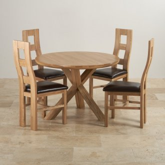 "Trinity Natural Solid Oak Dining Set - 3ft 7"" Round Table with 4 Wave Back and Brown Leather Chairs"