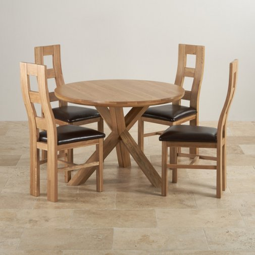 """Natural Solid Oak Dining Set - 3ft 7"""" Round Table with 4 Wave Back and Brown Leather Chairs"""