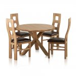 """Trinity Natural Solid Oak Dining Set - 3ft 7"""" Round Table with 4 Wave Back and Brown Leather Chairs - Thumbnail 1"""