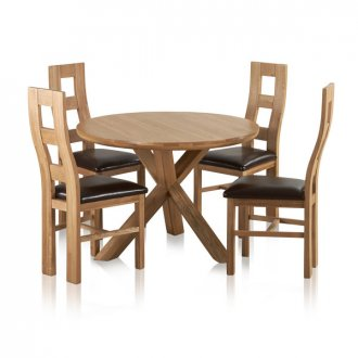 """Trinity Natural Solid Oak Dining Set - 3ft 7"""" Round Table with 4 Wave Back and Brown Leather Chairs"""