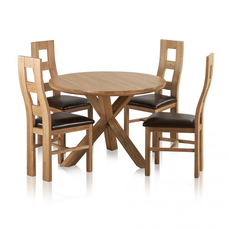 """Trinity Natural Solid Oak Dining Set - 3ft 7"""" Round Table with 4 Wave Back and Brown Leather Chairs - Image 6"""