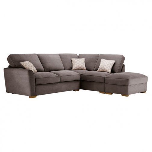 Nebraska Corner High Back Sofa with Storage Footstool Left Hand in Aero Charcoal with Silver Scatters