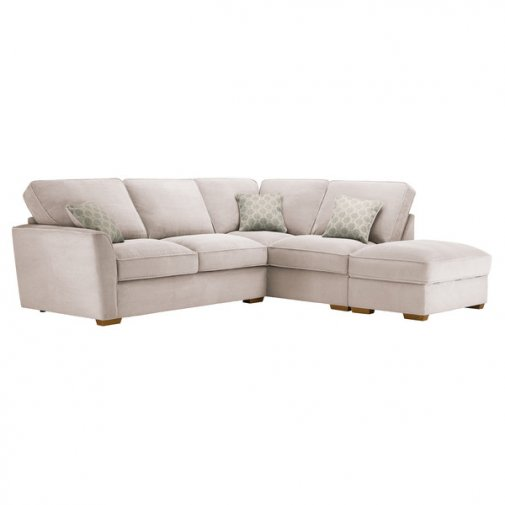 Nebraska Corner High Back Sofa with Storage Footstool Left Hand in Aero Fawn with Duck Egg Scatters
