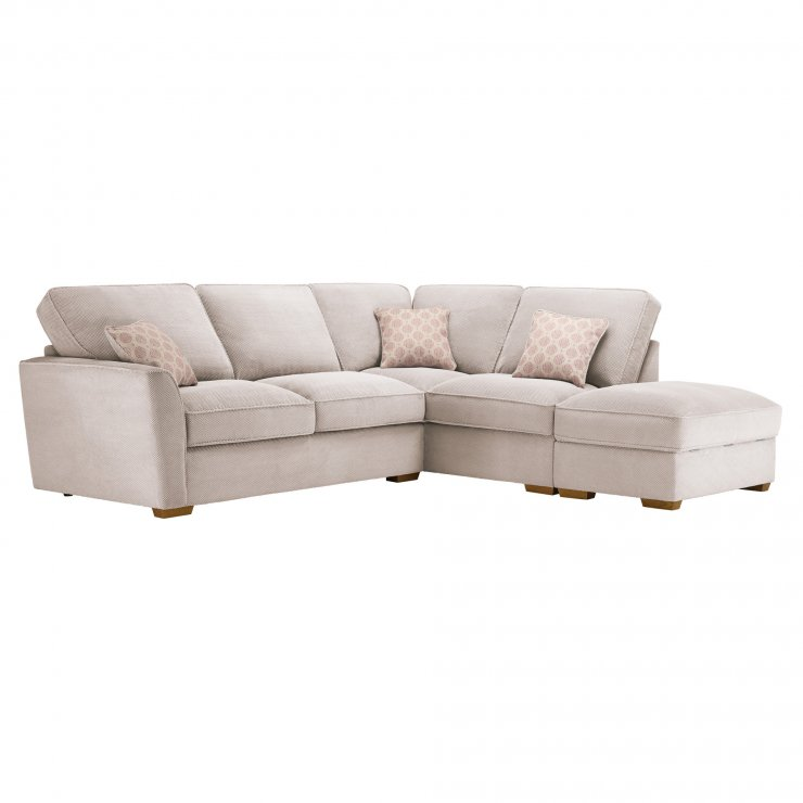 Nebraska Corner High Back Sofa with Storage Footstool Left Hand in Aero Fawn with Rose Scatters