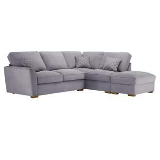 Nebraska Corner High Back Sofa with Storage Footstool Left Hand in Aero Silver with Silver Scatters