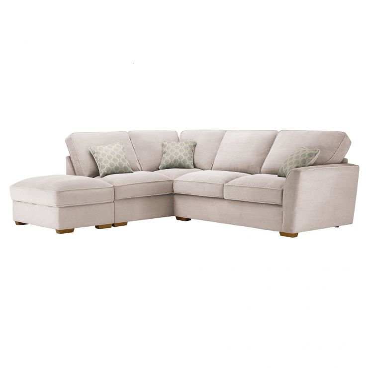 Nebraska Corner High Back Sofa with Storage Footstool Right Hand in Aero Fawn with Duck Egg Scatters