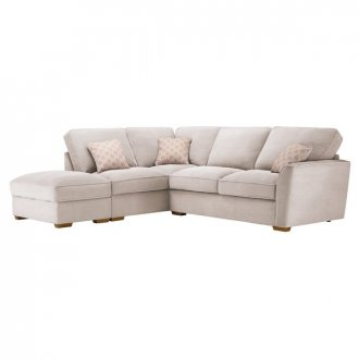 Nebraska Corner High Back Sofa with Storage Footstool Right Hand in Aero Fawn with Rose Scatters