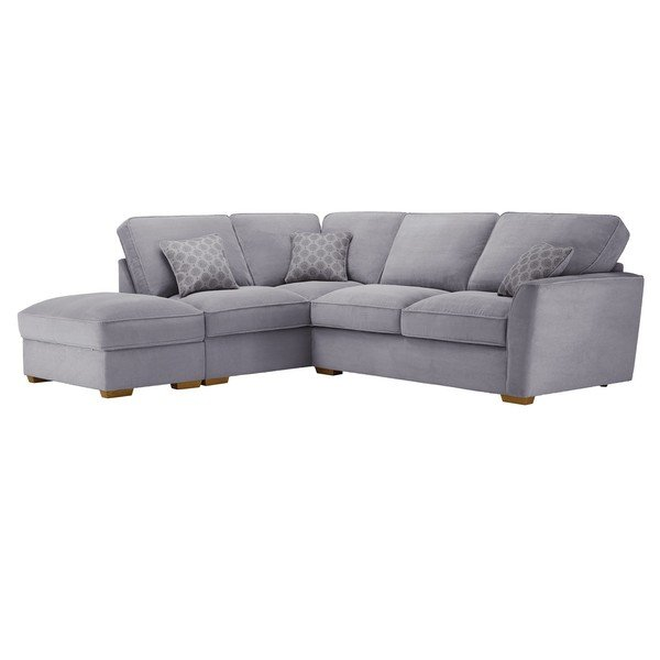 Nebraska Corner High Back Sofa with Storage Footstool Right Hand in Aero Silver with Silver Scatters