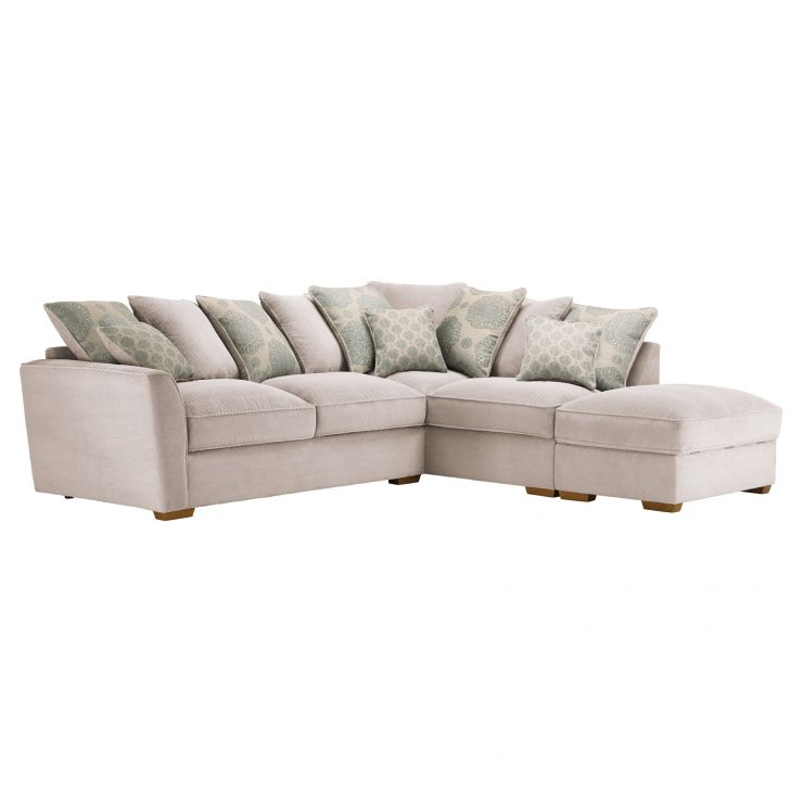 Nebraska Corner Pillow Back Sofa with Storage Footstool Left Hand in Aero Fawn with Duck Egg Scatters