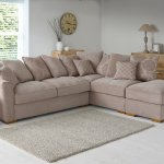 Nebraska Corner Pillow Back Sofa with Storage Footstool Left Hand in Aero Fawn with Rose Scatters - Thumbnail 3