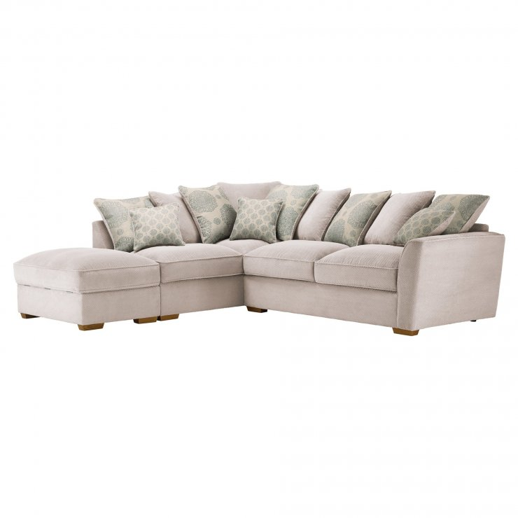 Nebraska Corner Pillow Back Sofa with Storage Footstool Right Hand in Aero Fawn with Duck Egg Scatters - Image 4