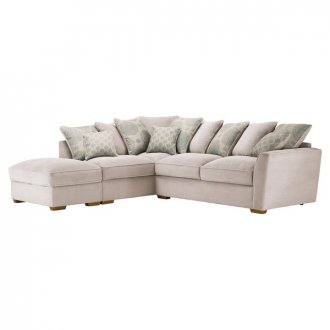 Nebraska Corner Pillow Back Sofa with Storage Footstool Right Hand in Aero Fawn with Duck Egg Scatters