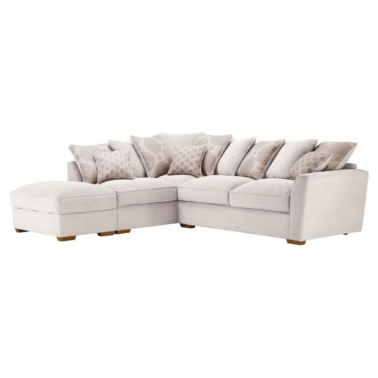 Nebraska Corner Pillow Back Sofa with Storage Footstool Right Hand in Aero Fawn with Rose Scatters - Image 1