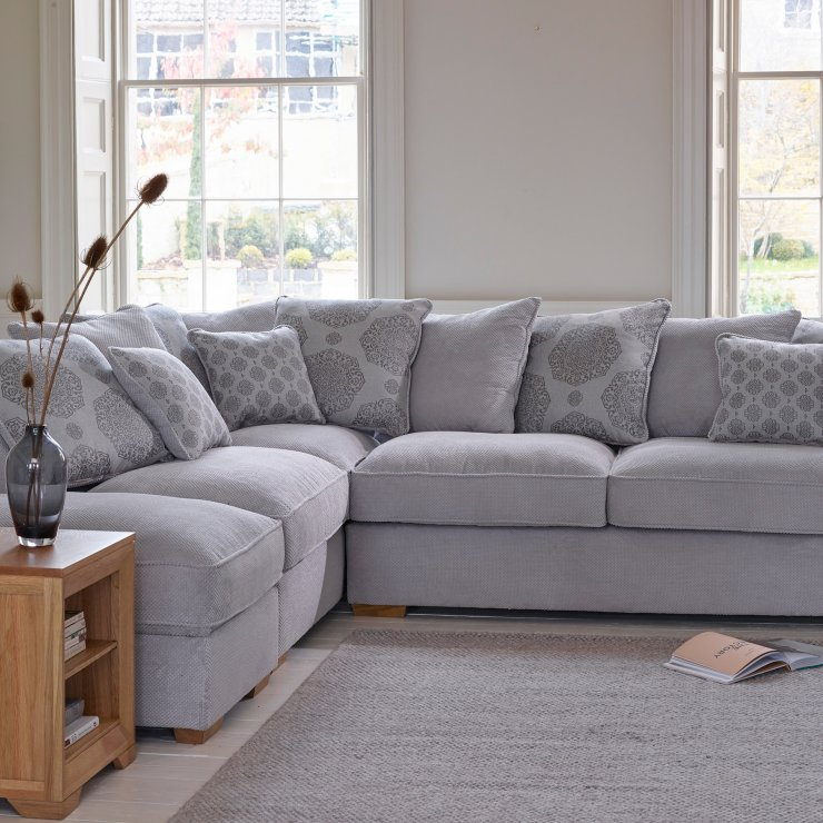 Nebraska Corner Pillow Back Sofa with Storage Footstool Right Hand in Aero Fawn with Rose Scatters