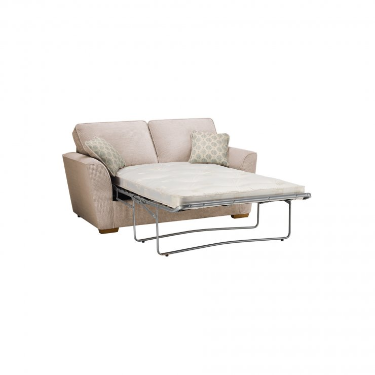 Nebraska 2 Seater Sofa Bed with Deluxe Mattress in Aero Fawn with Duck Egg Scatter
