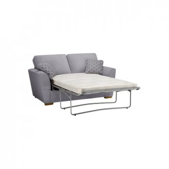 Nebraska 2 Seater Sofa Bed with Deluxe Mattress in Aero Silver with Silver Scatters