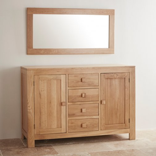 Oakdale Natural Solid Oak 1200mm x 600mm Wall Mirror