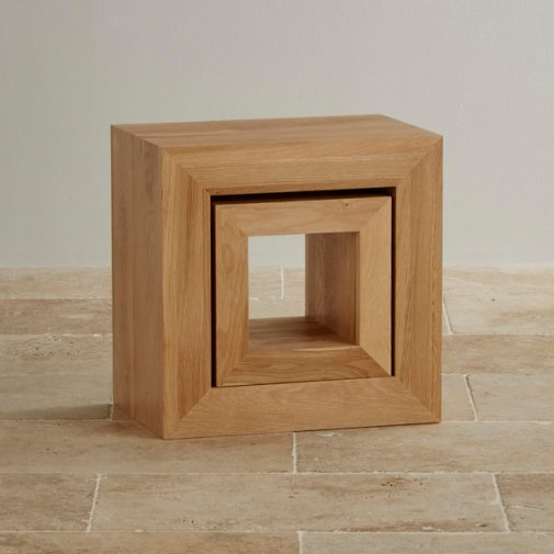 Oakdale Natural Solid Oak 2 Cube Nest of Tables