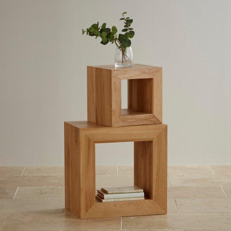 Oakdale Natural Solid Oak 2 Cube Nest of Tables